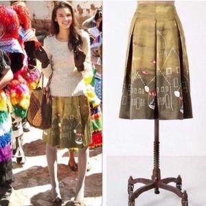 Anthropologie Maeve Feathered Village Skirt 4 $128